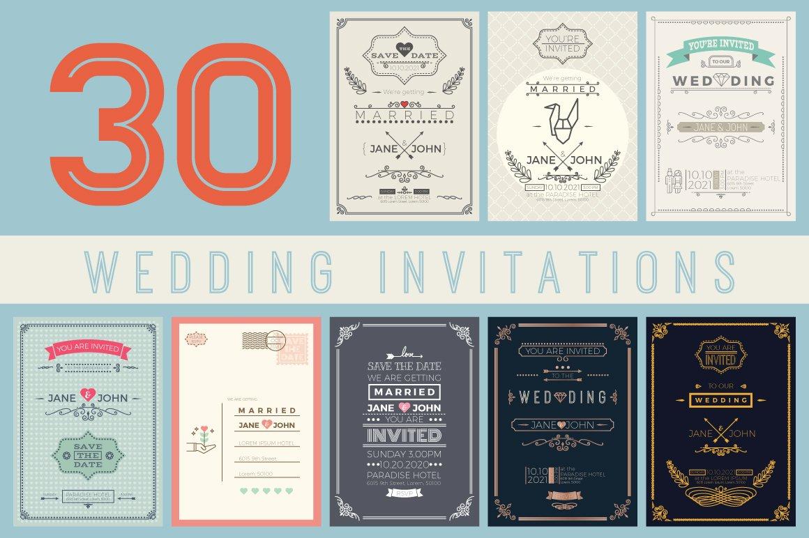 30 Wedding Invitation Templates Card Set in vintage and minimal style