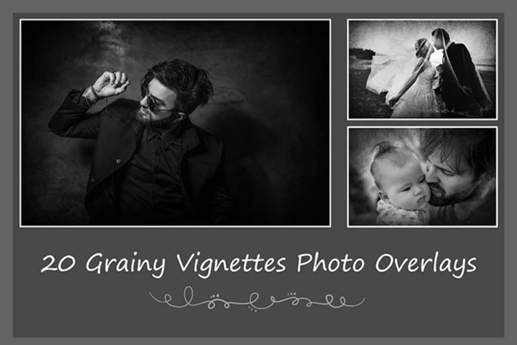 1800+ Wedding Effects Bundle Photoshop Add-Ons - 20 grainy vignettes photo overlays