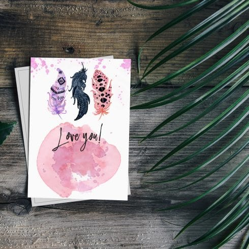 Love You Boho Watercolor Postcard - 600 14 490x490
