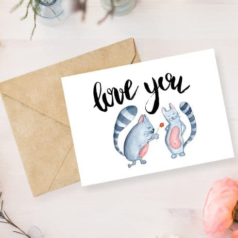 Love You Cats Postcard - 600 18 490x490