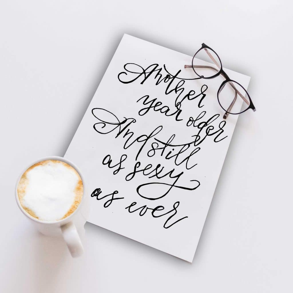 Typography Postcard: Happy Birthday, Sexy!