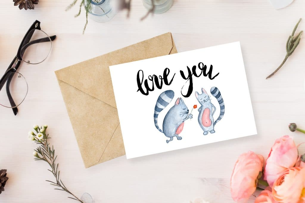 Love You Cats Postcard - Free Beautiful Greeting Card MockUp Psd 1