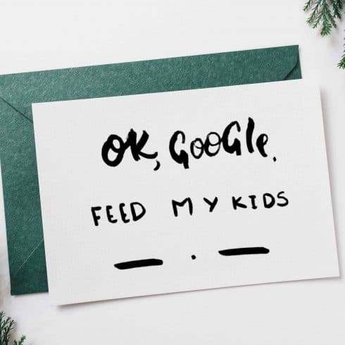Google, Feed My Kids Funny Postcard for Mother - Untitled 3 1 490x490