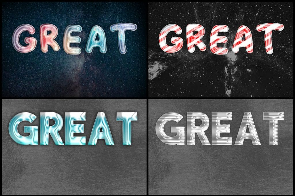 PSD Text Effects - 105 Pro Phtoshop Effects for Texts - befunky collage 13