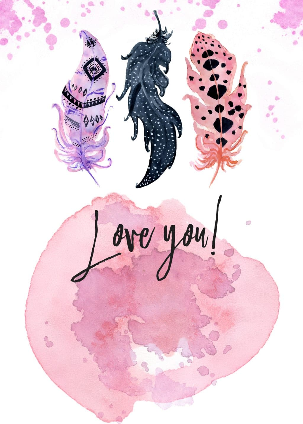 Love You Boho Watercolor Postcard