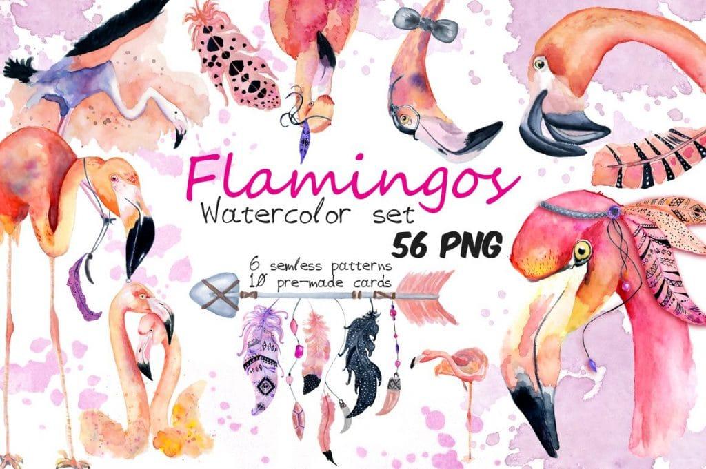 Boho Flamingo Watercolor Set - cover 1