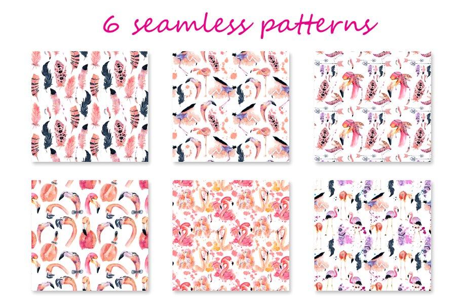 Boho Flamingo Watercolor Set - cover 10