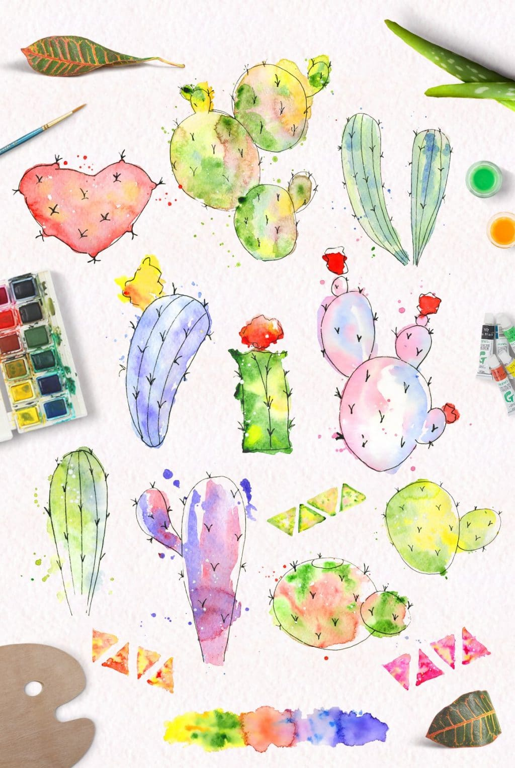 Watercolor Abstract Cactus -$12 - cover 7 1 1