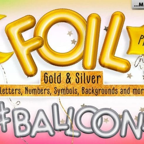 Foil Gold & Silver Balloon Add-ons:  10 Numbers, 26 letters, 7 symbols, 4 shapes - $8 - 600 10 490x490