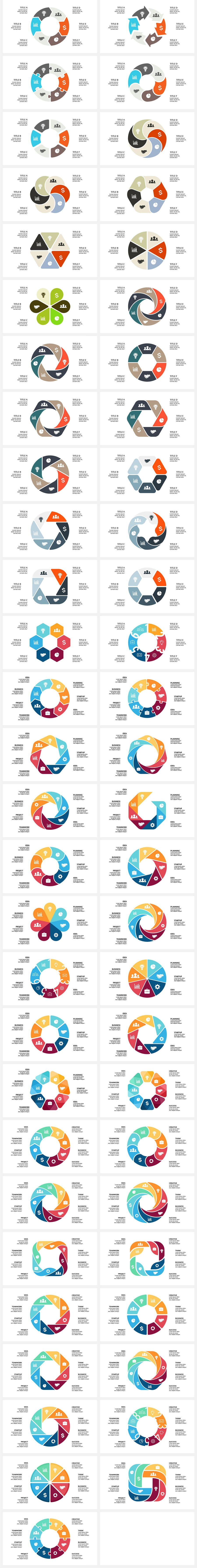 Very bright infographics on circle style.