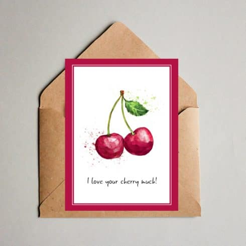 I love your Cherry much! Valentine's Day Card - Summer postcard 490x490