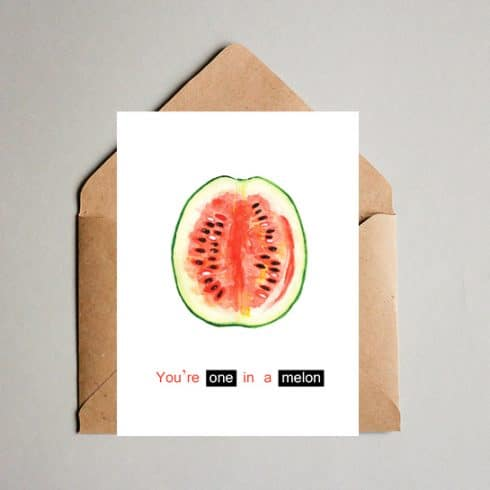 You're One in a Melon! Funny Valentine's Day Card - Summer postcard2 490x490