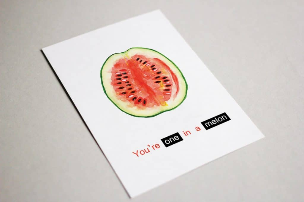 You're One in a Melon! Funny Valentine's Day Card