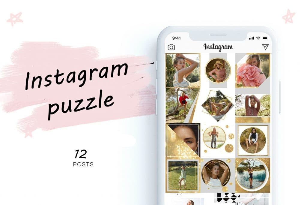 Gold Instagram Puzzle Template