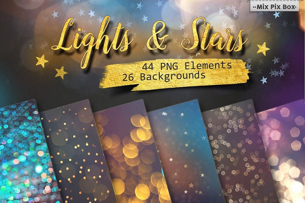 Lights & Stars Clipart + Backgrounds - $8 - cover 1