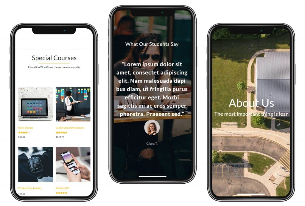 Education WordPress Theme: Courses&Learning Website Builder - $25 - education product presentation iphones