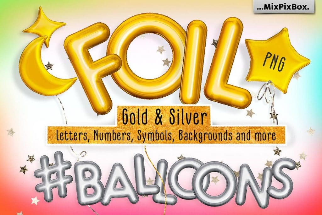 Foil Gold & Silver Balloon Add-ons