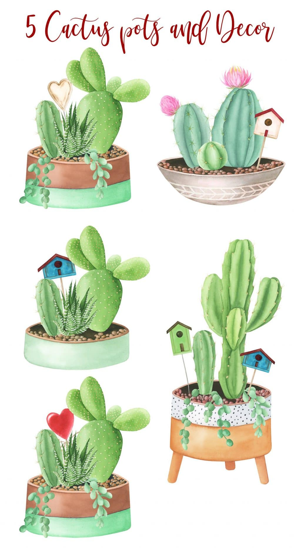 240+ Cactus Clipart 2021: Free and Premium Collections - title pots3