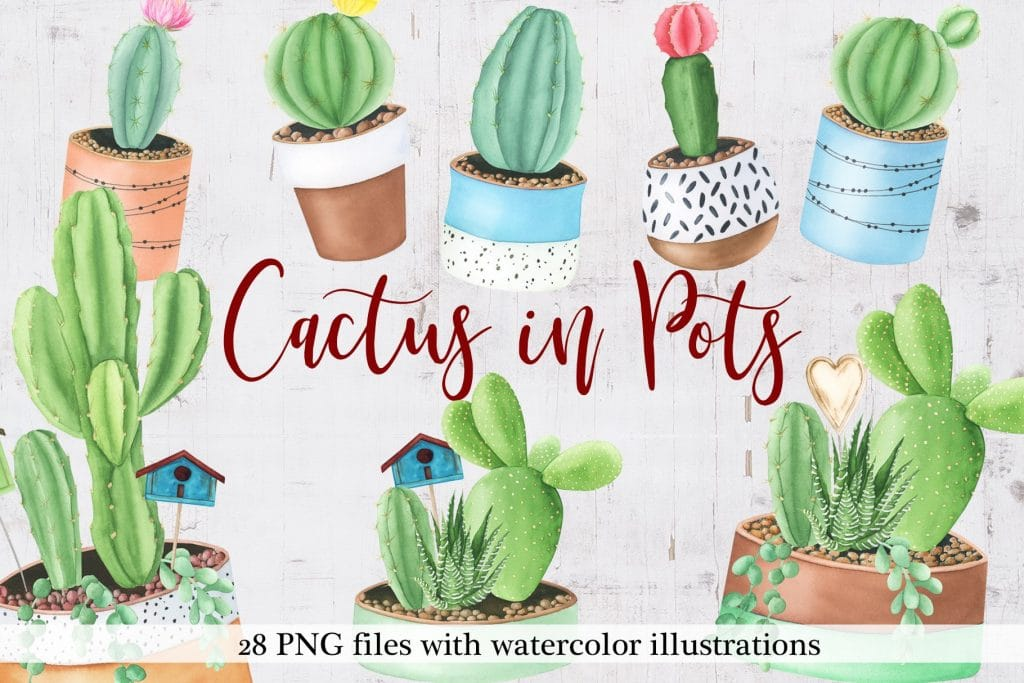 240+ Cactus Clipart 2021: Free and Premium Collections - title pots db