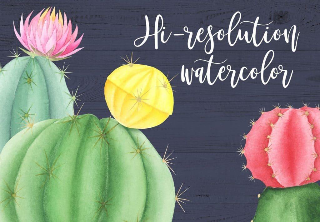 Watercolor Cactus in Pots - $11 - title res