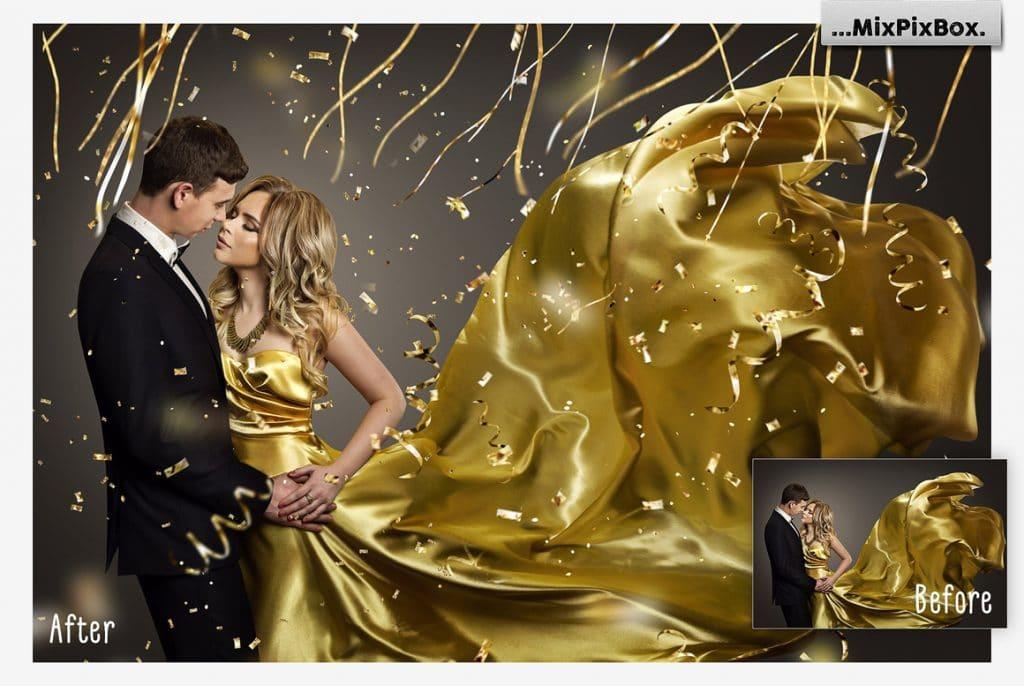 Golden Confetti Overlays