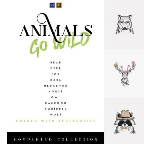 10- in-1 Animals Go Wild Illustrations - $21 - 600 30 490x490