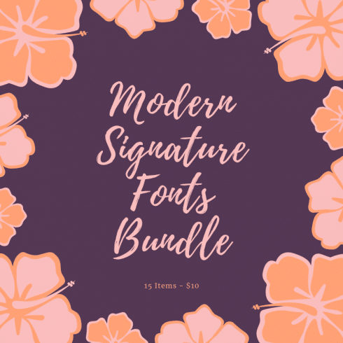 Modern Signature Fonts Bundle - 15 Items - $10 - Modern Signature Fonts Bundle 490x490