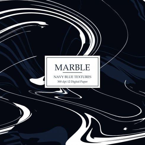 12 Navy Marble Digital Textures - $4 - Navy Marble Digital Paper 490x490