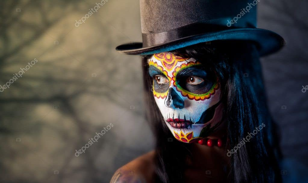 130+ Best Halloween Clipart in 2020: Photos, Pumpkins, Greeting Cards - depositphotos 7605762 stock photo sugar skull girl in tophat