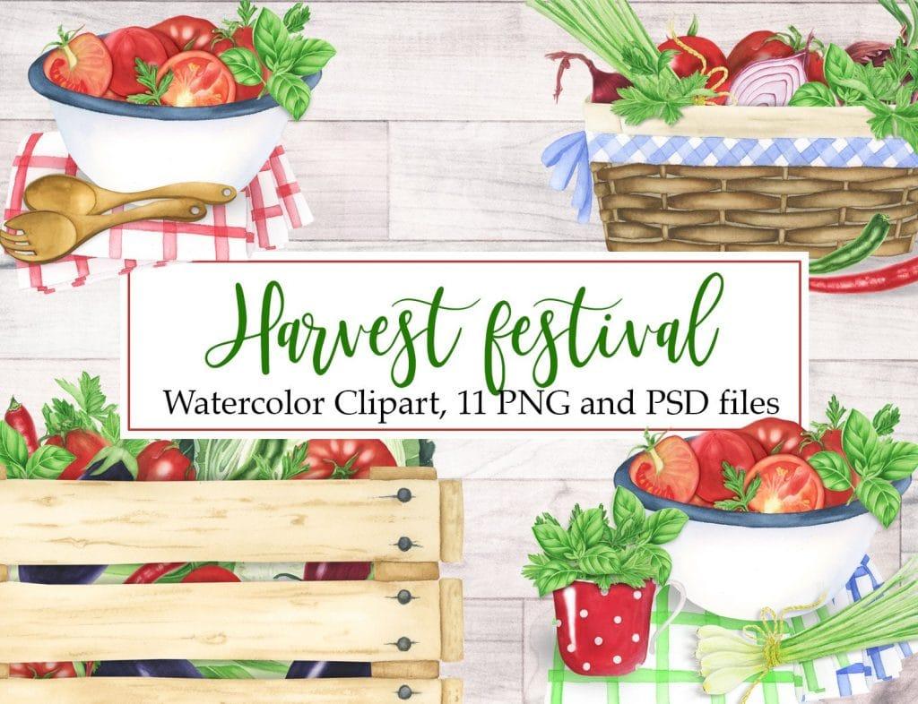 Harvest Festival Watercolor Clipart