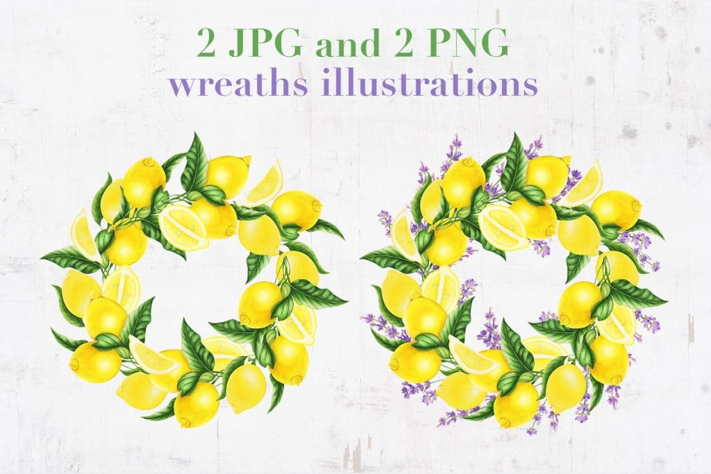 Provence: Lemons and Lavender Clipart - $14 - 03
