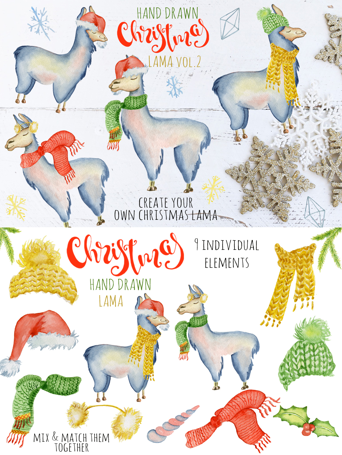 Magical Winter Clipart: 14 Christmas Watercolor Clipart Bundles in 1 - $28 - 10 Lama2