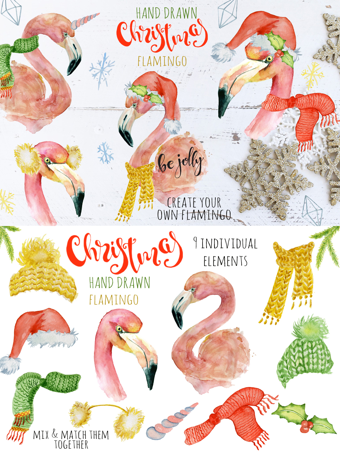 Magical Winter Clipart: 14 Christmas Watercolor Clipart Bundles in 1 - $28 - 12 Flamingo