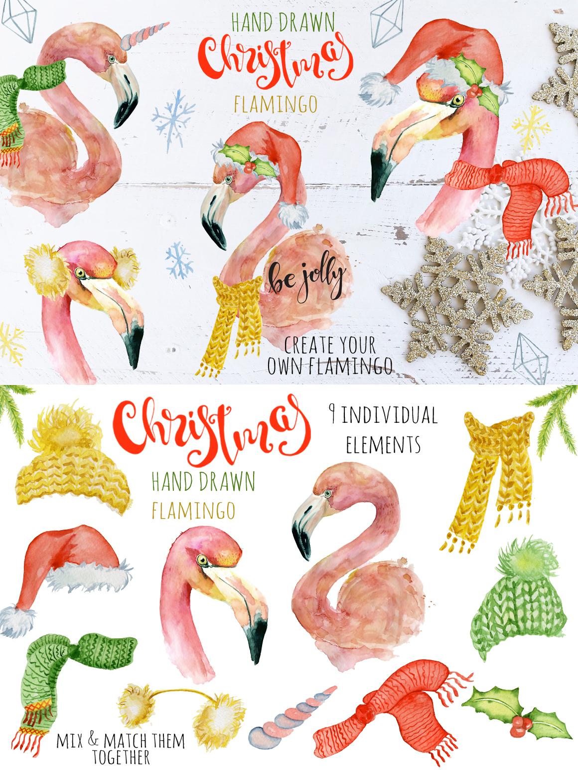 Winter Wonderland Clipart: 14 Christmas Watercolor Clipart Bundles in 1 - $28 - 12 Flamingo