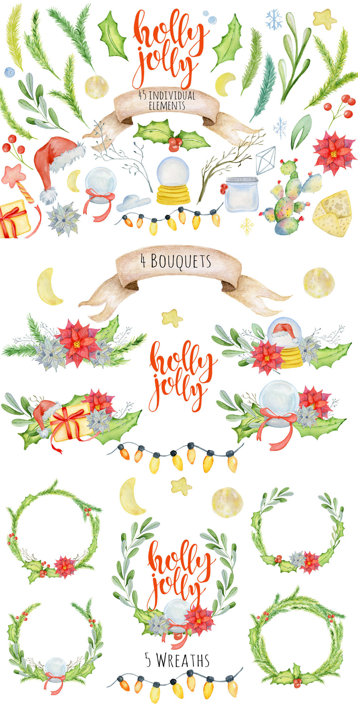 Winter Wonderland Clipart: 14 Christmas Watercolor Clipart Bundles in 1 - $28 - 13 Holly jolly