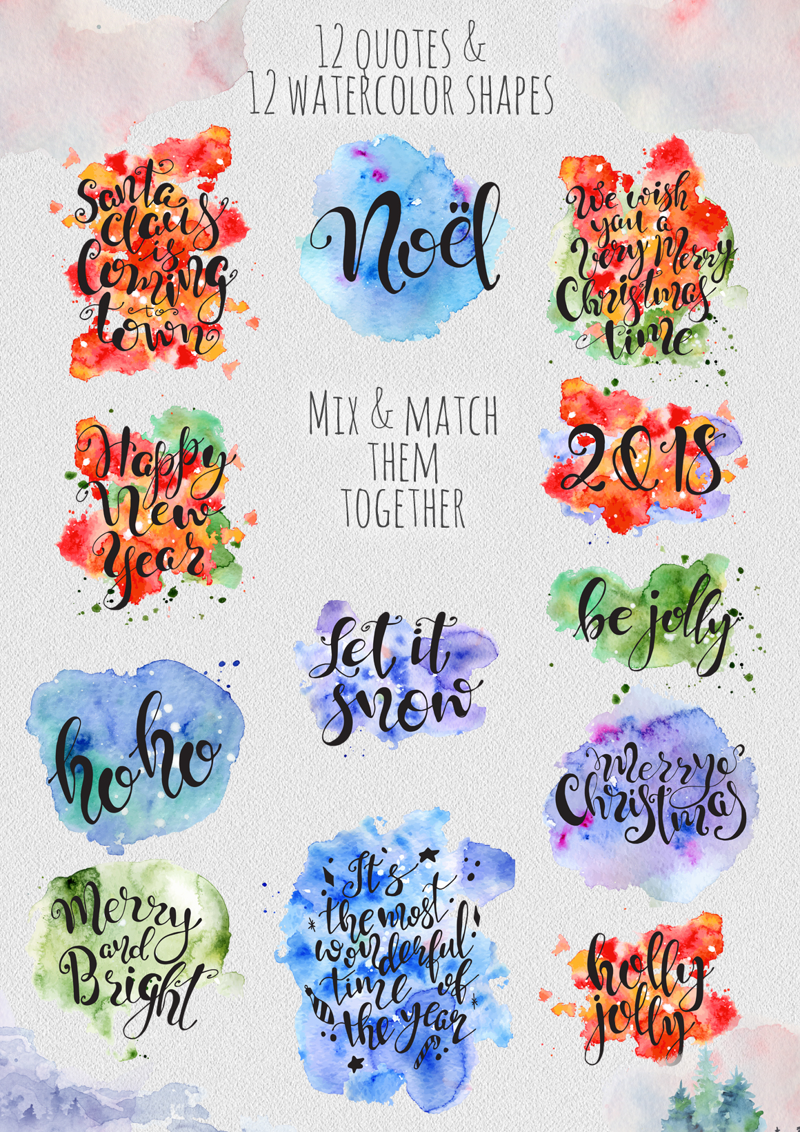 Magical Winter Clipart: 14 Christmas Watercolor Clipart Bundles in 1 - $28 - 15 Quotes color