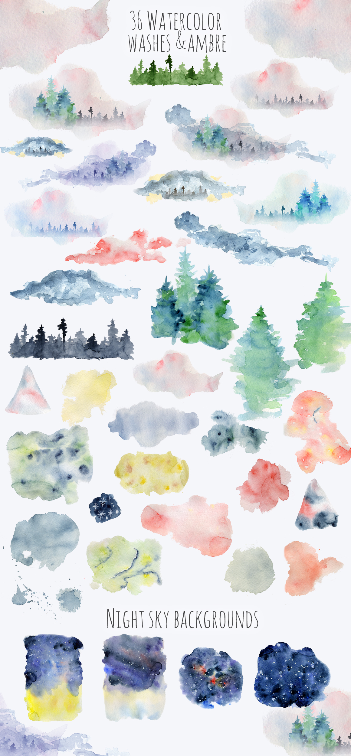 Magical Winter Clipart: 14 Christmas Watercolor Clipart Bundles in 1 - $28 - 16 Ambre