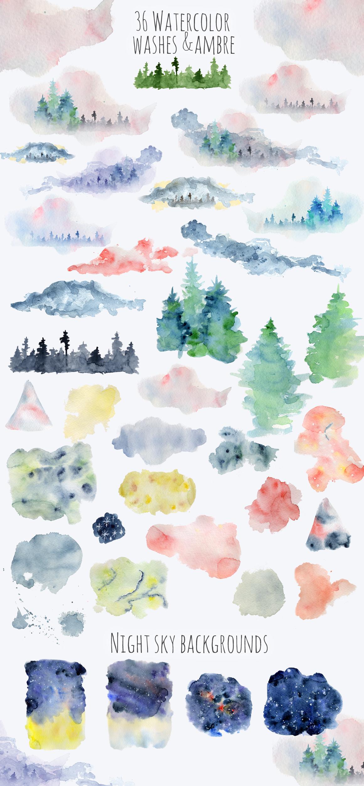 Winter Wonderland Clipart: 14 Christmas Watercolor Clipart Bundles in 1 - $28 - 16 Ambre