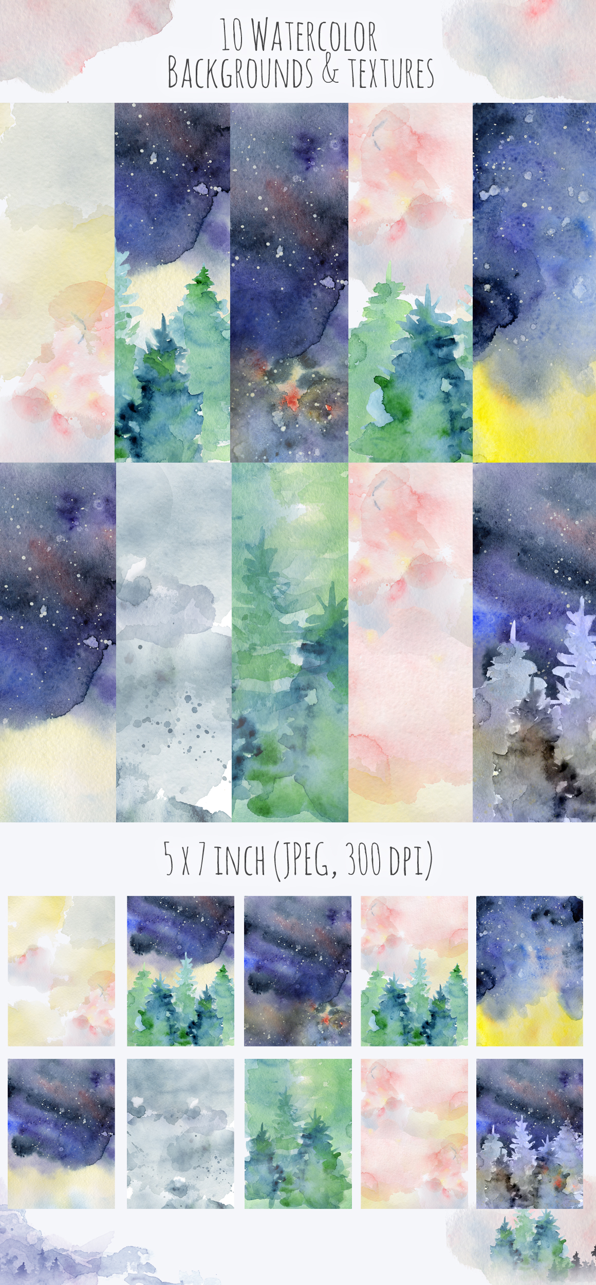 Magical Winter Clipart: 14 Christmas Watercolor Clipart Bundles in 1 - $28 - 17 backgrounds cover
