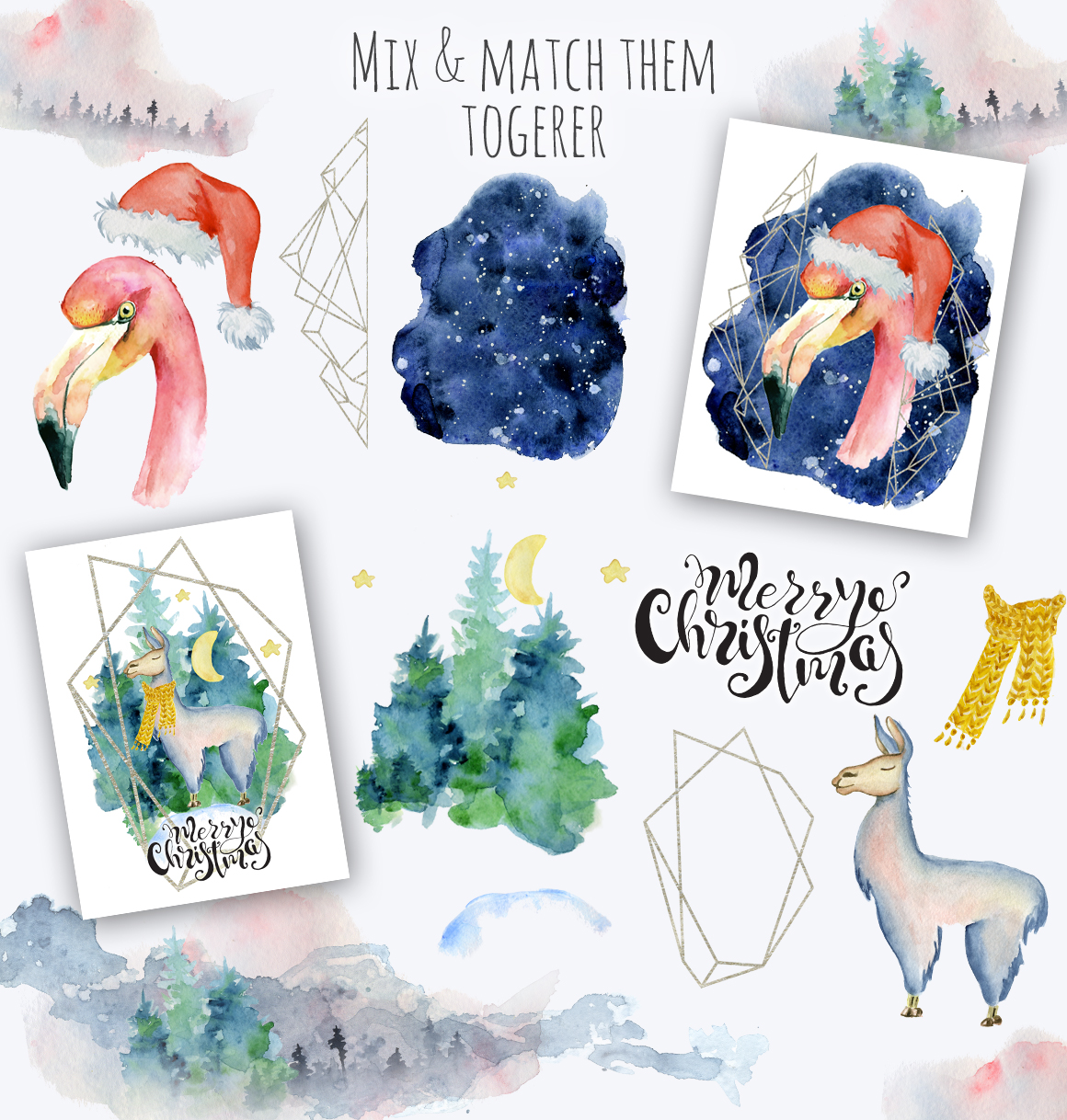 Magical Winter Clipart: 14 Christmas Watercolor Clipart Bundles in 1 - $28 - 18 mix and match
