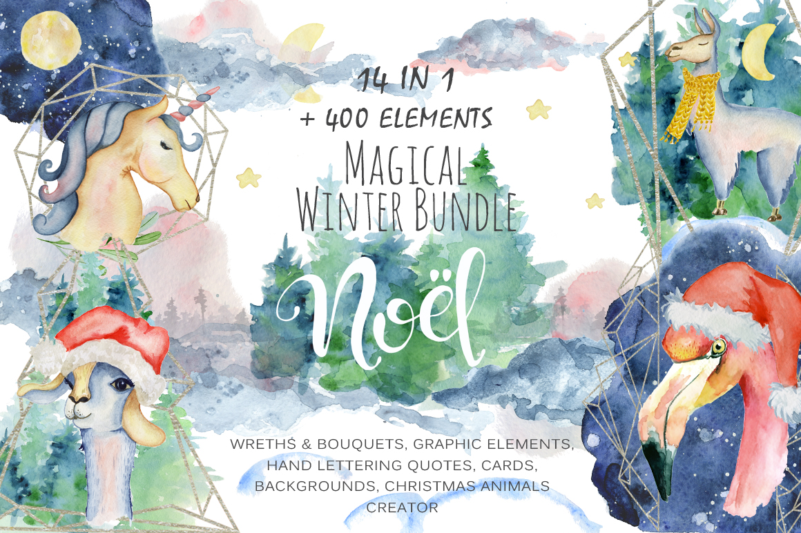 Magical Winter Clipart: 14 Christmas Watercolor Clipart Bundles in 1 - $28 - 1 COVER main