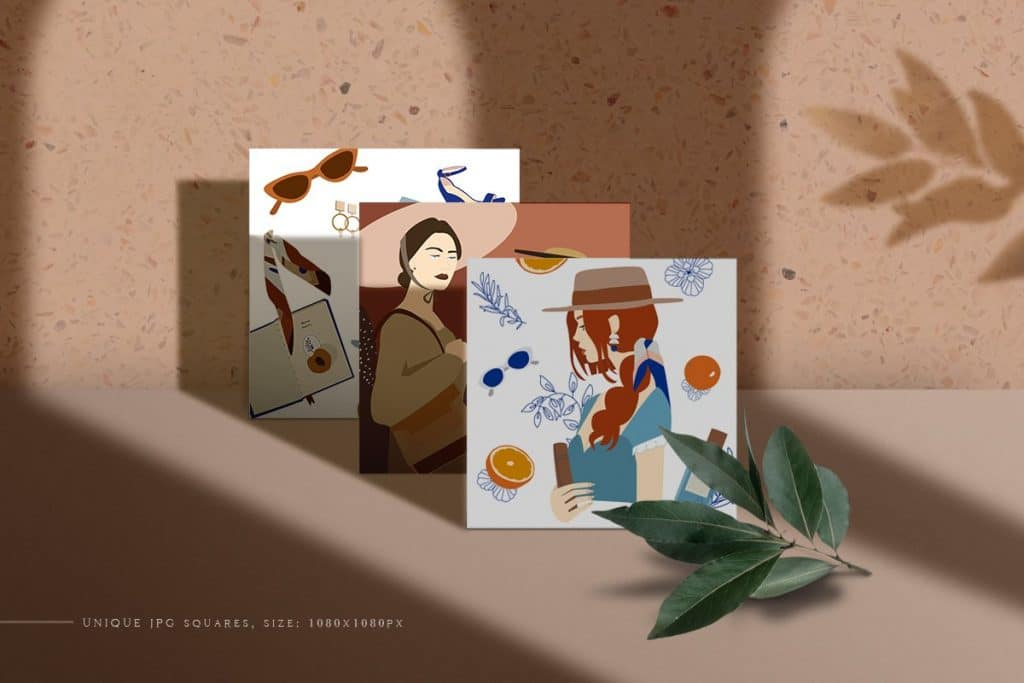 A small posters with a different girls.
