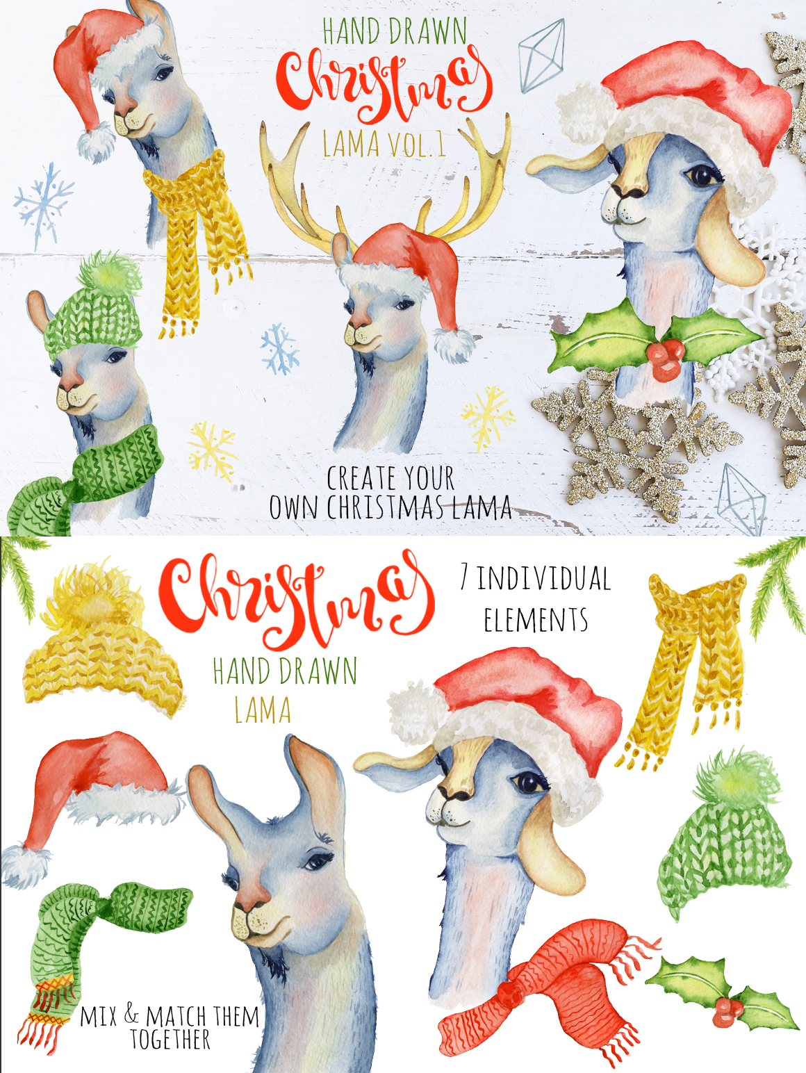 Magical Winter Clipart: 14 Christmas Watercolor Clipart Bundles in 1 - $28 - 9 Lama1