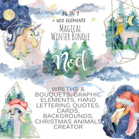 Winter Wonderland Clipart: 14 Christmas Watercolor Clipart Bundles in 1 - $28 - COVER 500x500 1 490x490