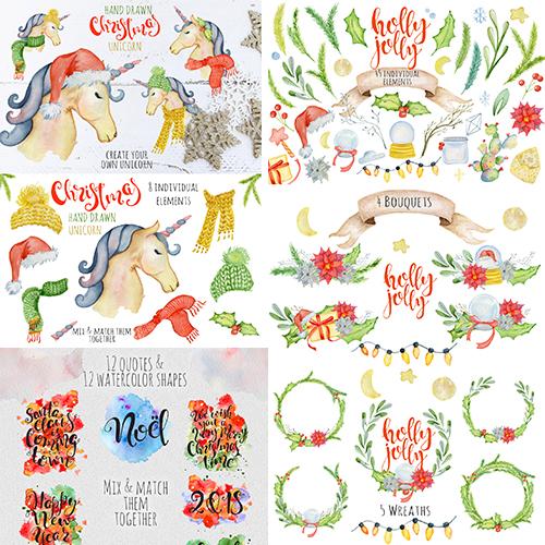 Winter Wonderland Clipart: 14 Christmas Watercolor Clipart Bundles cover image.