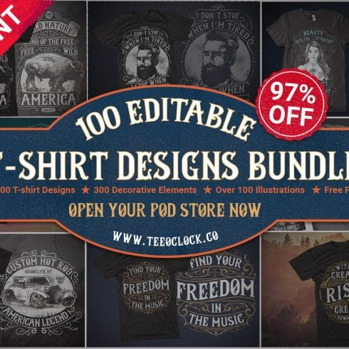 100 Editable T-shirt Designs - $39 - Teaser image 490x490