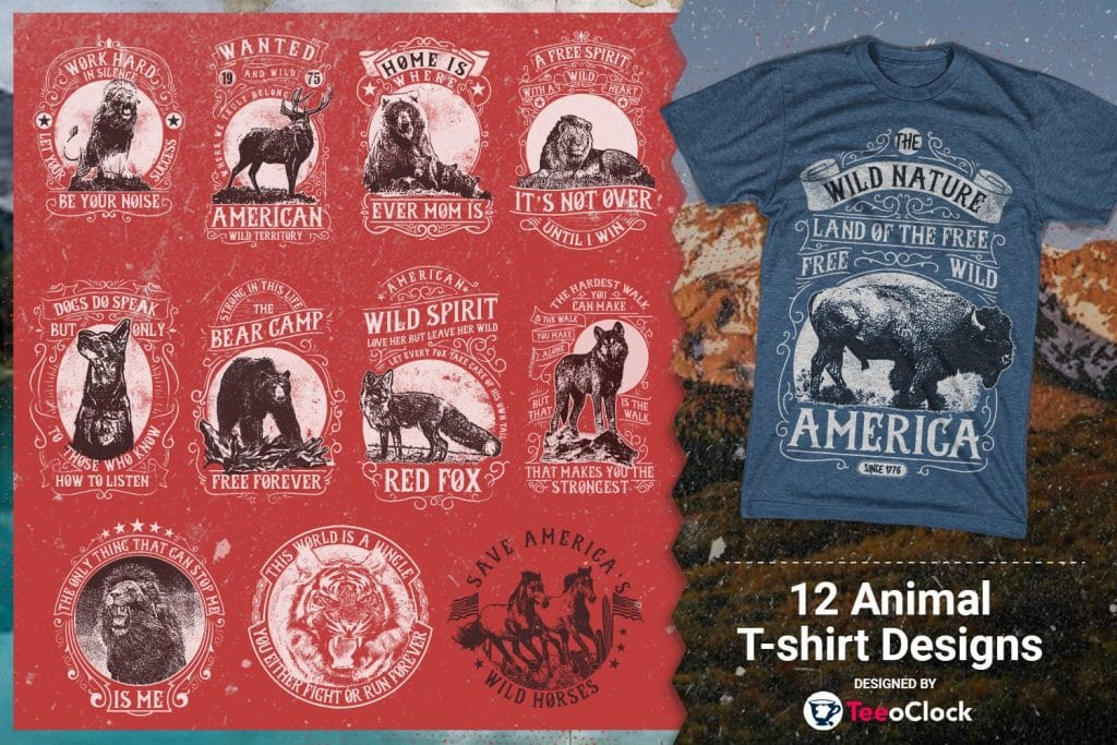 Image of t-shirts are the nature6 trees and animals..