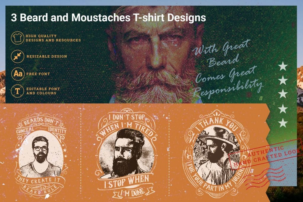3 beard and moustaches t-shirts design.