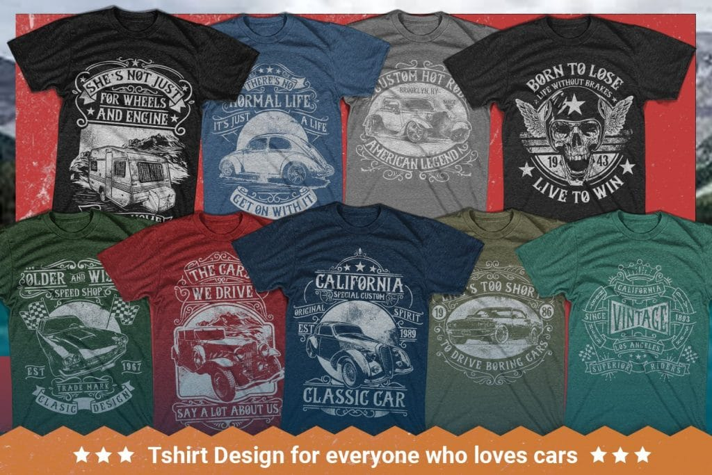 T-shirts with cars and bike images.