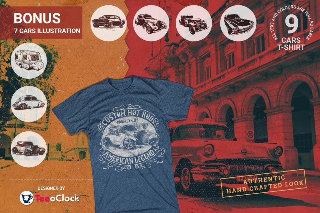 T-shirts with vintage cars.